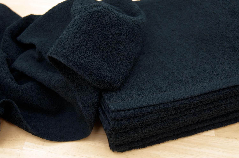 黒色 ブラックフェイスタオル