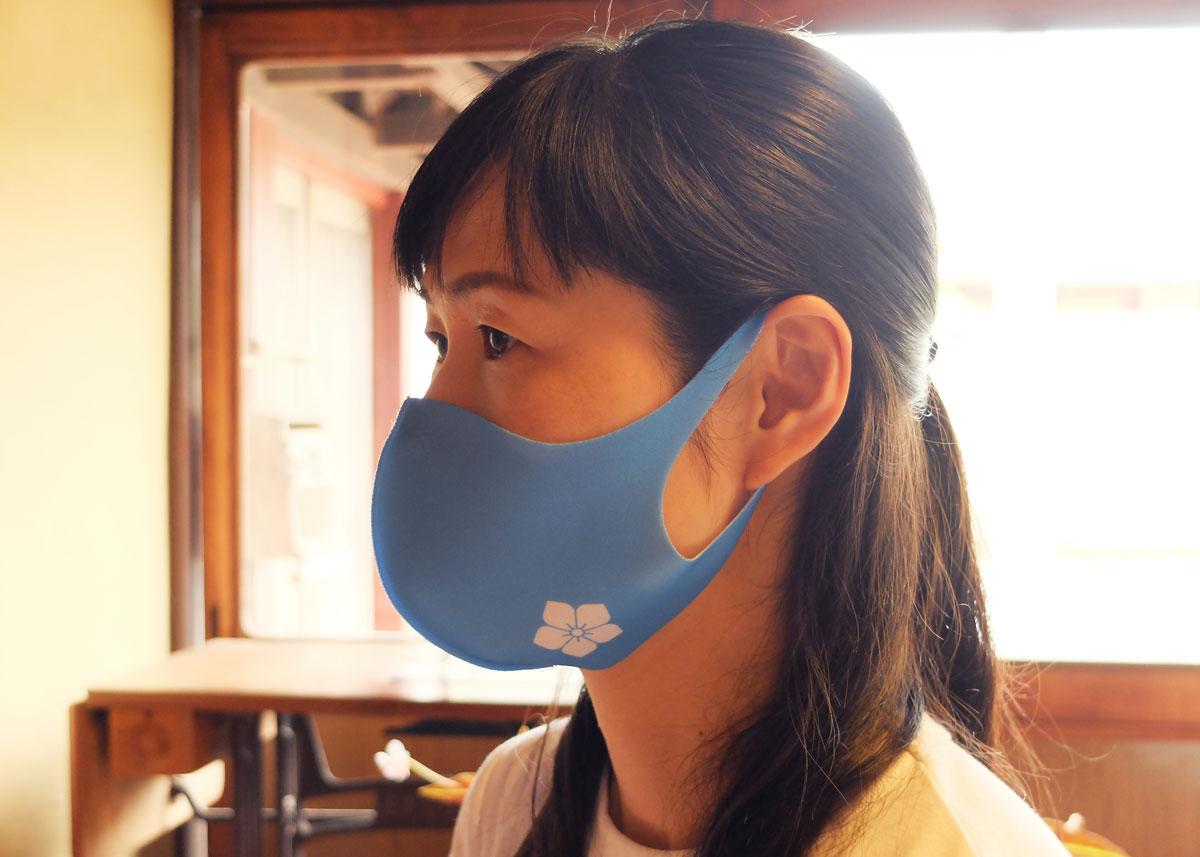 桔梗紋水色白抜き明智光秀マスク