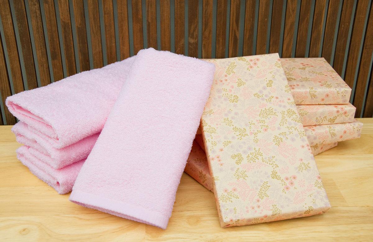 カラータオル1本箱入り  ピンク桜色