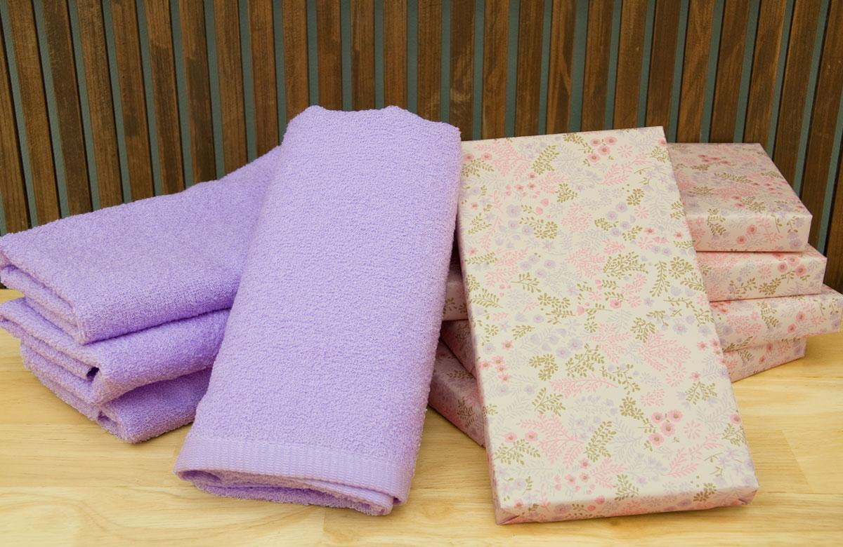 カラータオル1本箱入り  ライトパープル藤紫色