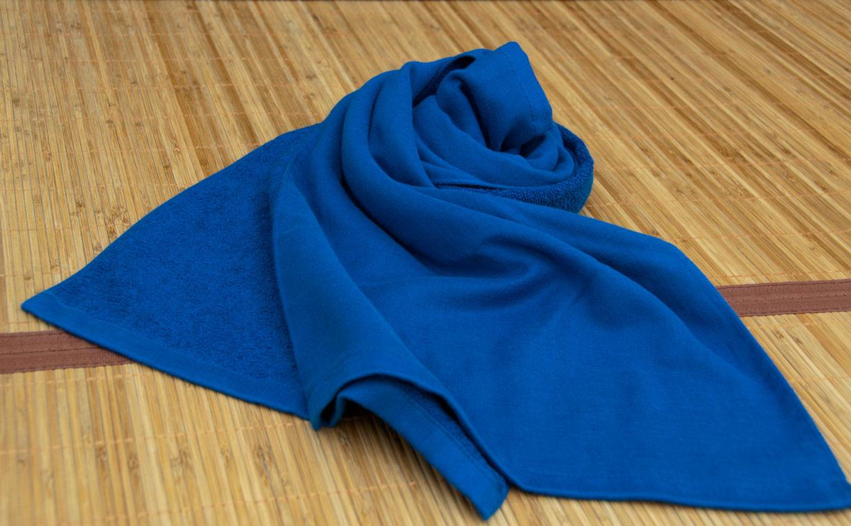 藍色 ガーゼタオル 藍染め風